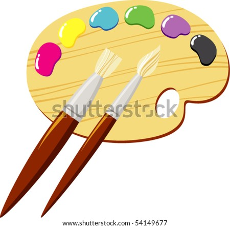 palette and colors - stock vector
