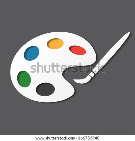 palette and paintbrush - stock vector