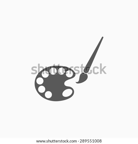 palette and paintbrush icon - stock vector