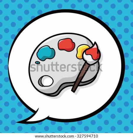 Palette doodle, speech bubble - stock vector