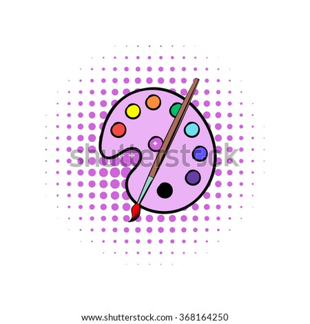 Palette with brush comics icon. Brush with watercolor paints on a white background - stock vector