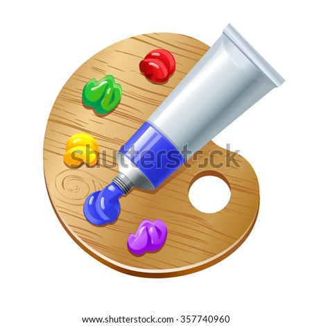 palette with paint tube, eps 10 - stock vector