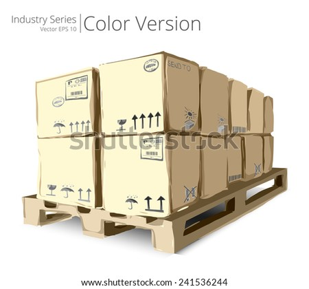 Pallet with Boxes. Vector illustration of Pallet with Boxes, Color Series. - stock vector