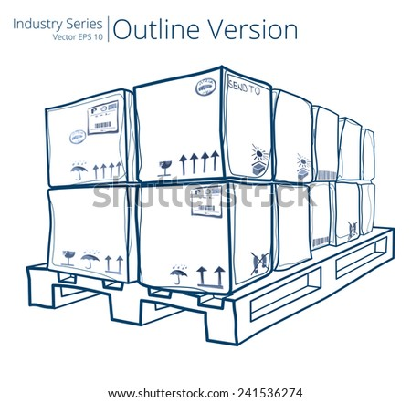 Pallet with Boxes. Vector illustration of Pallet with Boxes, Outline Series.  - stock vector