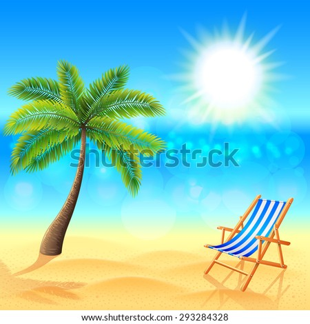 Palm and deck chair on sunny beach tropical vector background - stock vector