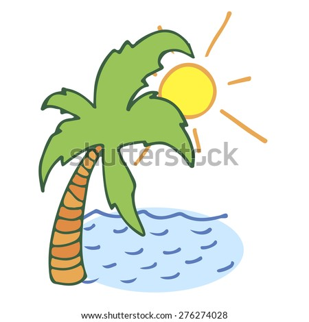 palm and sea - stock vector