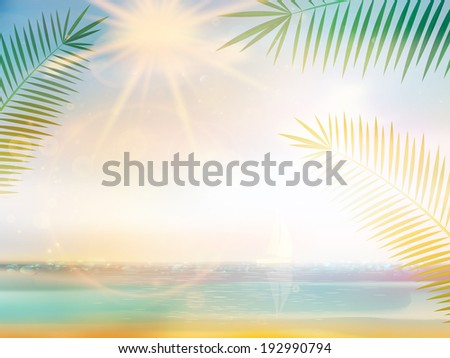 Palm and tropical beach design template. EPS10 - stock vector