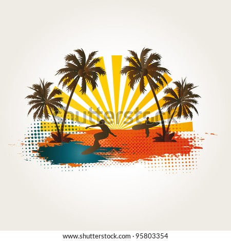 Palm, beach and surfer on exotic background - stock vector