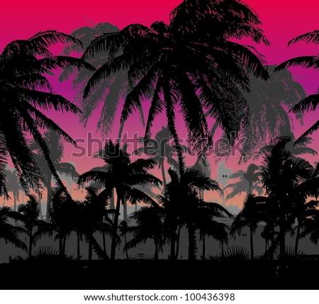 palm island - stock vector