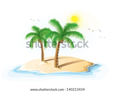 Palm island, with two palm trees, EPS 10