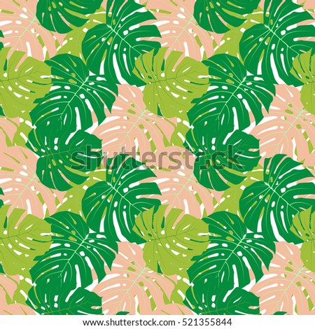 Palm Leaf Seamless Pattern Background Vector Illustration EPS10