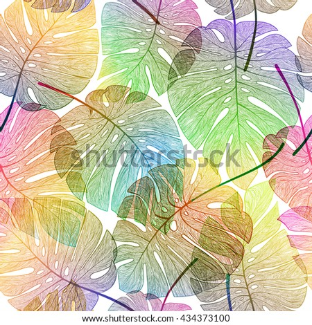 Palm leaf seamless pattern. Vector colorful, exotic, tropical illustration. - stock vector