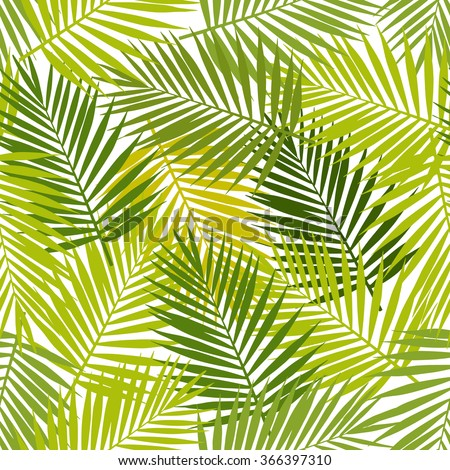 Palm leaf silhouettes seamless pattern. Vector illustration. Tropical leaves. - stock vector