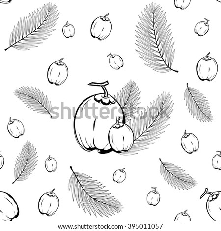 Palm leaves and coconut fruit seamless background pattern ready for tiling in vector format. Pattern swatches included in file.