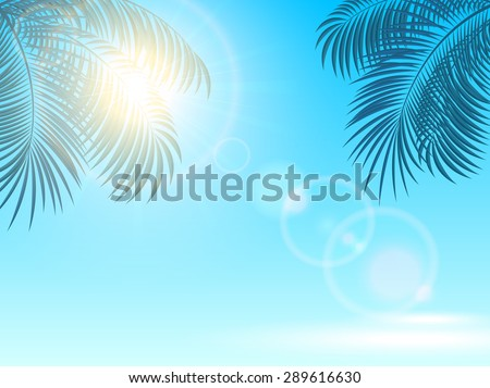 Palm leaves and the Sun on a blue shiny background, illustration. - stock vector
