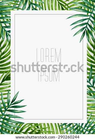 Palm leaves background. Tropical greeting card. - stock vector