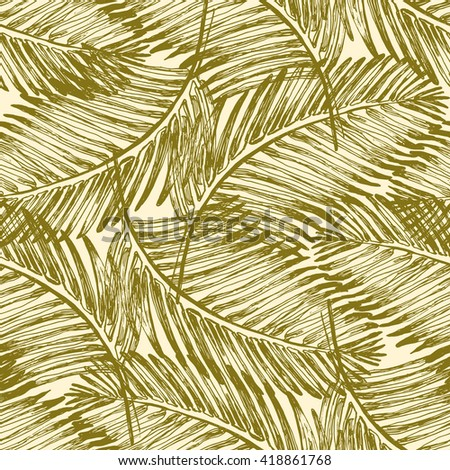 Palm leaves illustration pattern. Palm leaves illustration pattern with tropical jungle plant. Vector wallpaper seamless textile pattern in vintage style background.  - stock vector