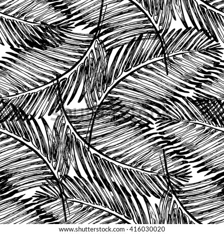 Palm Leaves Illustration Pattern With Tropical Jungle Plant Vector Wallpaper Seamless Textile In Vintage