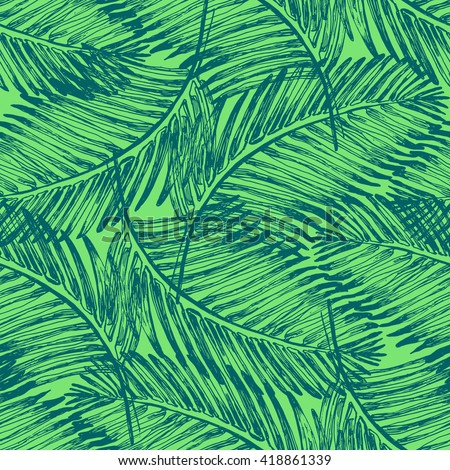 Palm Leaves Illustration Pattern With Tropical Jungle Plant Vector Wallpaper Seamless Textile In Vintage Style