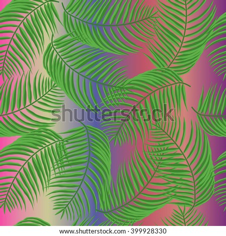 Palm leaves on multicolored background pattern, seamless - stock vector