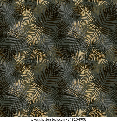 Palm leaves pattern - stock vector