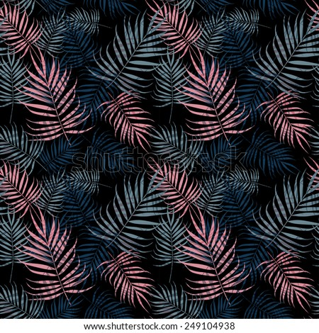 Palm leaves pattern on black background - stock vector