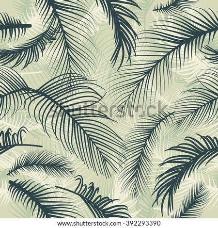 Palm leaves seamless pattern - stock vector