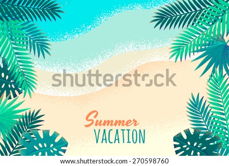 Palm leaves, tropical beach, seascape background. Retro vector illustration. Place for your text - stock vector