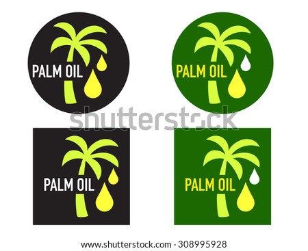 Palm oil icons vector set or collection
