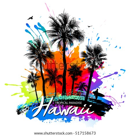 Palm silhouettes, surfer, birds, paint splashes - tropical background