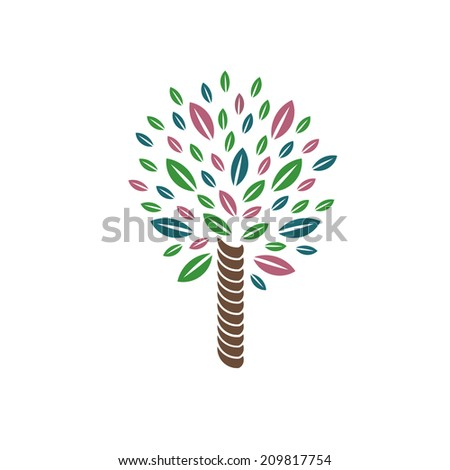 Palm style tree image. Concept of great journey.Vector icon  - stock vector