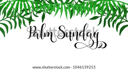 palm sunday happy easter lettering card stock vector 1046139253