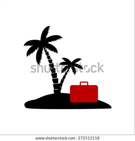 Palm tree and suitcase - stock vector