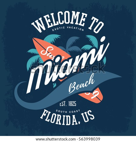 Palm tree surfboard american miami florida stock vector for T shirt printing miami fl