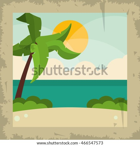 palm tree beach summer holiday vacation icon. Colorful and grunge illustration. Vector graphic