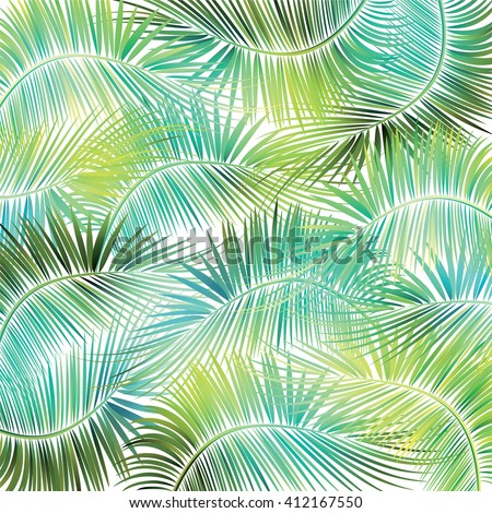 Palm tree branches on white background. Vector illustration. - stock vector