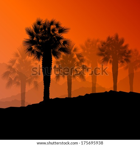 Palm tree desert oasis forest silhouettes wild nature landscape background illustration vector