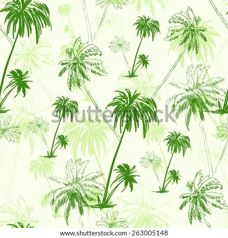 palm tree green pattern over vector illustration - stock vector