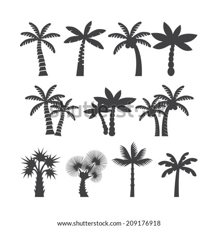 palm tree icon set, each icon is a single object (compound path), vector eps10 - stock vector