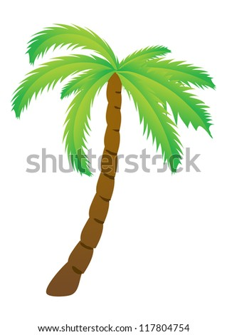 Palm tree, isolated vector illustration - stock vector