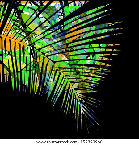Palm tree leaves - stock vector