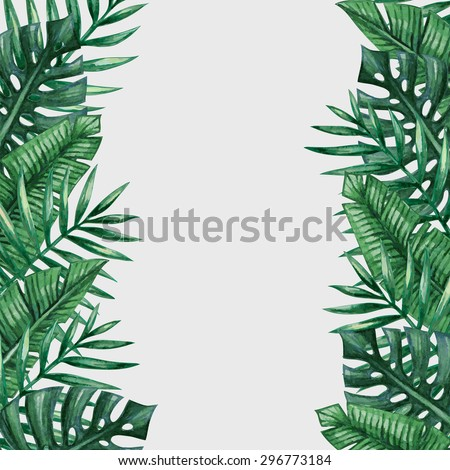 Palm tree leaves background template. Tropical greeting card. - stock vector