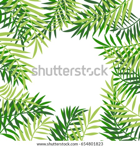 Palm tree leaves frame border tropical stock vector 654801823 palm tree leaves frame or border tropical greeting card invitation template trendy summer pronofoot35fo Image collections