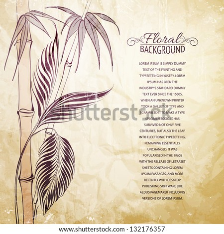 Palm tree over bamboo forest. Vector illustration.