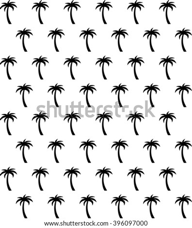 Palm tree seamless pattern in black and white - stock vector
