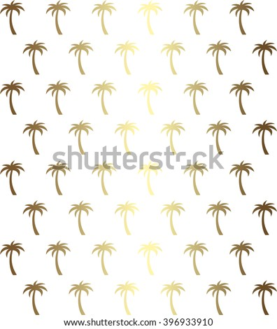 Palm tree seamless pattern in gold - stock vector