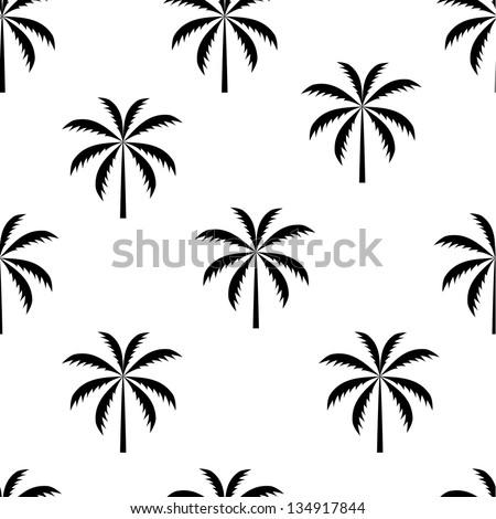 Palm tree seamless pattern vector illustration - stock vector
