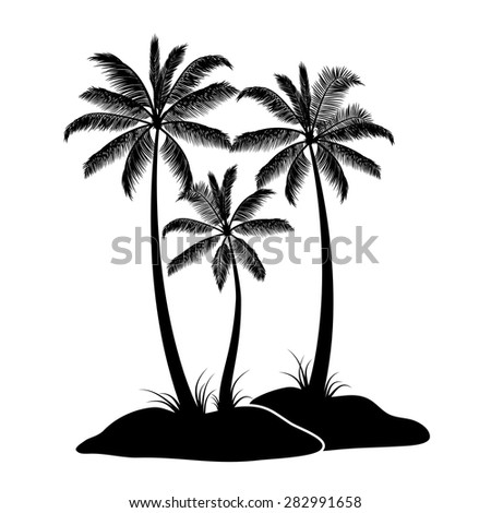 Palm tree silhouettes isolated on white - stock vector