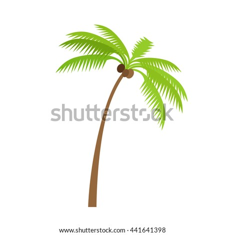 Palm tree silhouettes with coconut. Vector illustration isolated on white background - stock vector