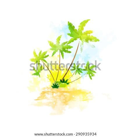 Palm Tree Tropical Island Grunge Color Summer Vacation Vintage Watercolor Vector Illustration - stock vector